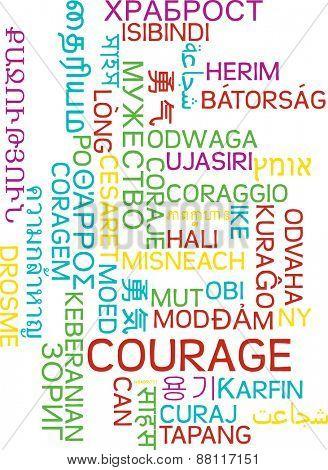 Background concept wordcloud multilanguage international many language illustration of courage