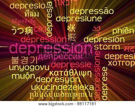Background concept wordcloud multilanguage international many language illustration of depression glowing light