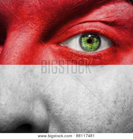 Vienna Flag Painted On A Man's Face To Support His City