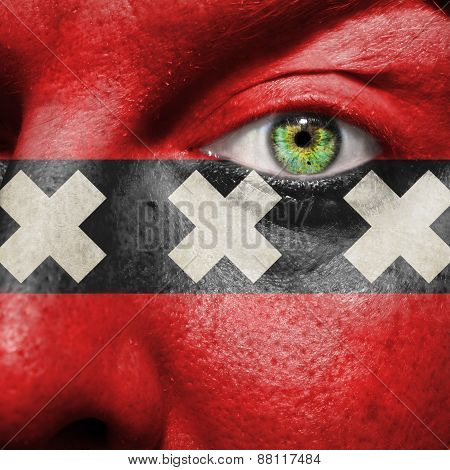 Amsterdam Flag Painted On A Man's Face To Support His City
