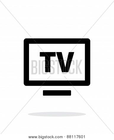 Flatscreen TV simple icon on white background.