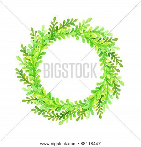 Green Round Watercolor Frame.
