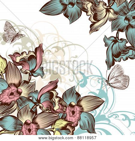 Beautiful Floral Background With Orchids