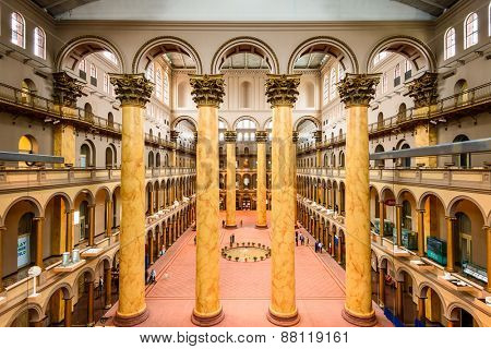 WASHINGTON - APRIL 8, 2015: The Great Hall of the National Building Museum. Completed in 1887, the building onced housed the former Pension Bureau and is now a museum of architecture and design.