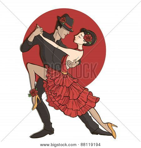 Couple dancing the tango.