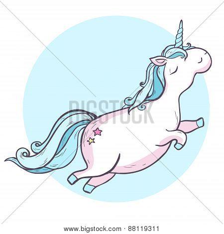 Cartoon hand drawing magic unicorn.