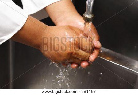 Chef lavado mano