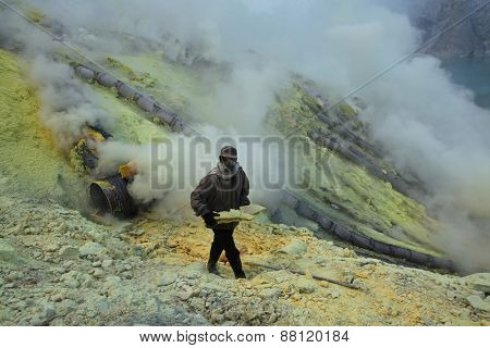 KAWAH IJEN, INDONESIA - AUGUST 8, 2011: Miner collects sulphur in the fumes of toxic volcanic gas at the sulphur mines in the crater of the active volcano of Kawah Ijen, East Java, Indonesia.