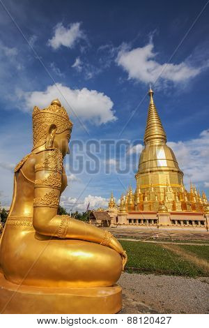 Gold Pagoda With Gold Goddess Statue
