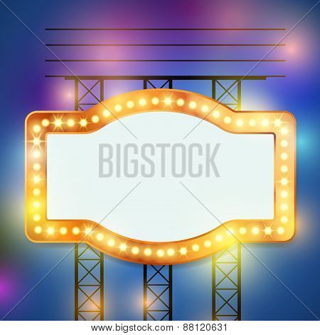 Retro Bulb Circus Cinema Light Sign Template
