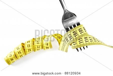Diet Concept - Fork With Measure Tape Isolated On White