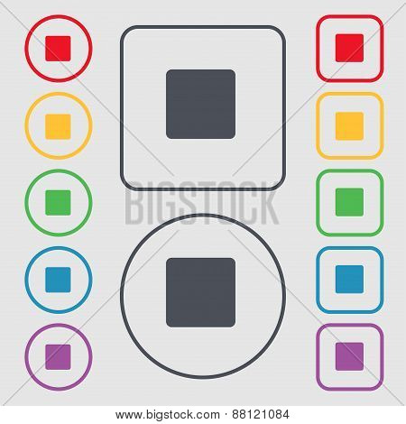 Stop Button Icon Sign. Symbol On The Round And Square Buttons With Frame. Vector