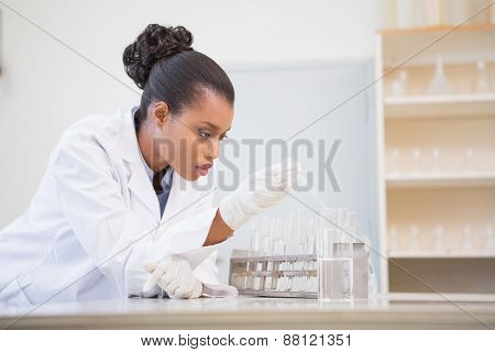 Concentrated scientist analyzing test tube in laboratory