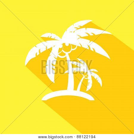 Coconut palm tree icons or symbols of travel.This illustration represents tropical tourism places, b