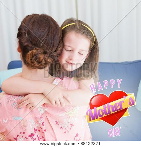mothers heart against little girl with her mother on sofa