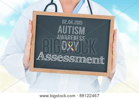 The word assessment and doctor showing chalkboard against blue sky