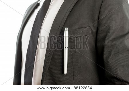 Pen Clipped On Suit Pocket Of A Businessman