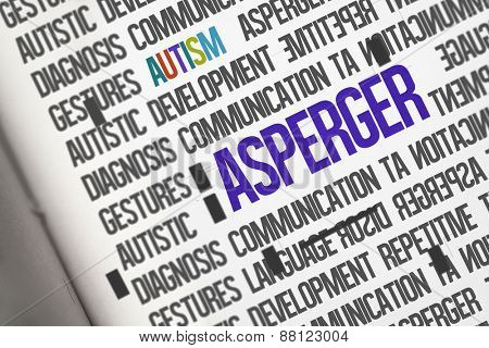 The word asperger against open book