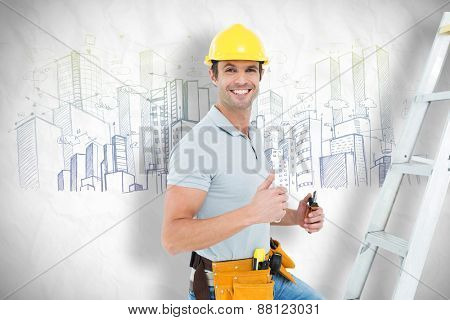 Technician with tools showing thumbs up by step ladder against crumpled white page