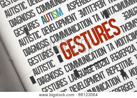 The word gestures against open book