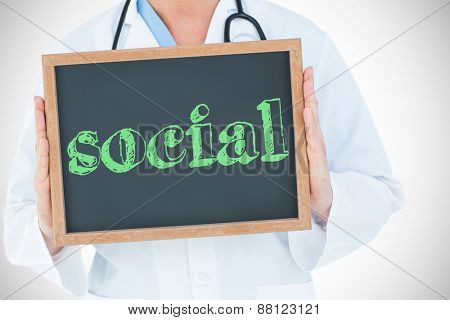 The word social against doctor showing chalkboard