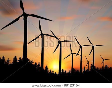 illustration with wind power generator silhouettes in country landscape
