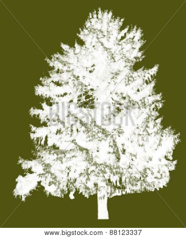 illustration with white fir tree silhouette from dots isolated on green background