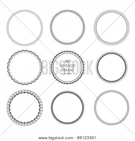 set vintage frame for emblems, labels, logos, badges. Design circles elements monochrome style