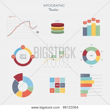 Business data market elements dot bar pie charts diagrams and graphs flat design.  set business elements isolated vector illustration.