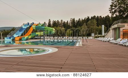 aqua park constructions in swimming pool