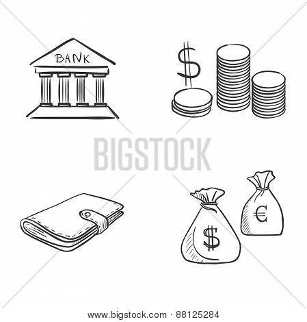 hand draw doodle bank coin money cash wallet
