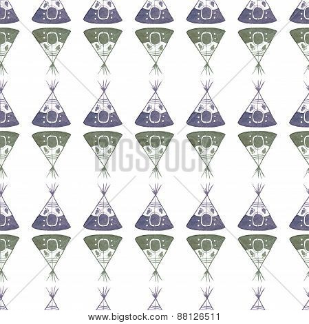Watercolor seamless pattern with teepee on the white background, aquarelle. Vector illustration. Han