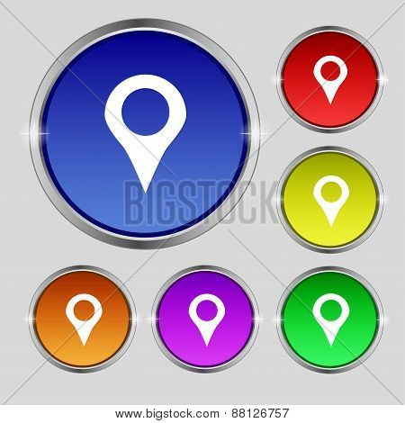 Map Pointer, Gps Location Icon Sign. Round Symbol On Bright Colourful Buttons. Vector
