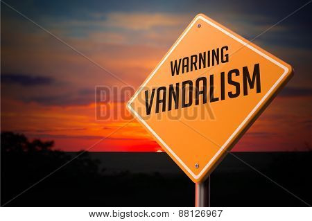 Vandalism on Warning Road Sign.