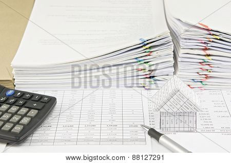 Silver Pen And House With Calculator