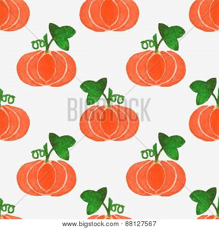 Seamless watercolor pattern with funny pumpkins on the white background, aquarelle.  Vector illustra