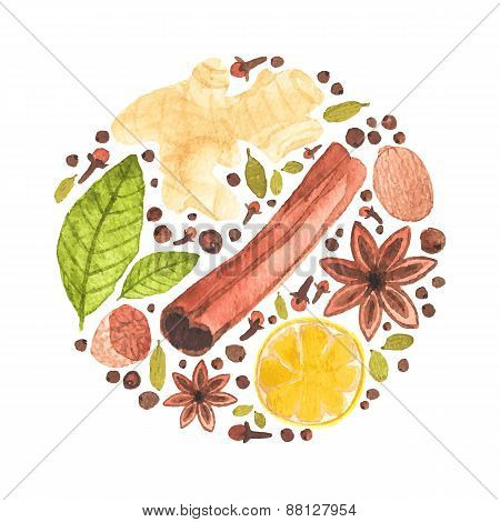 Vector watercolor circle design made of spices for mulled wine. Watercolor. Christmas or menu decor.