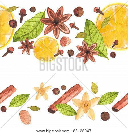 Seamless watercolor pattern with different spices on the white background, aquarelle.  Vector illust