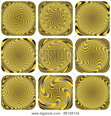Torsion, rotation and vortex patterns. Abstract design elements set. Vector art.