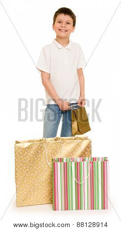 child boy with shopping bag