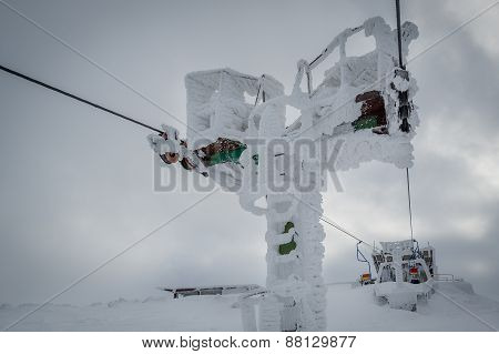 Frozen ski lifting mechanism