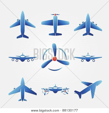 Plane blue vector icons