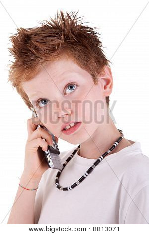 Cute Boy On The Phone,looking Up,  Isolated On White Background, Studio Session