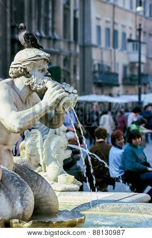 Fontana Del Moro At Piazza Navona In Rome