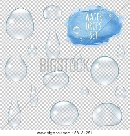 Water Drops Set With Gradient Mesh, Vector Illustration