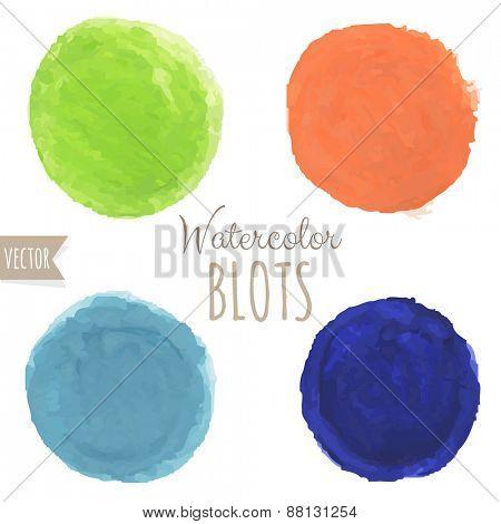 Watercolor Blots, Vector Illustration