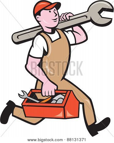 Mechanic Carrying Spanner Toolbox Running Isolated