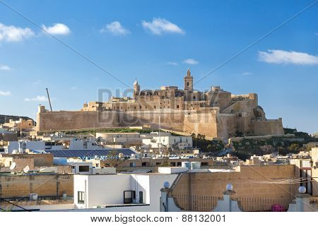 VICTORIA, MALTA - JANUARY 13, 2015: View on Cittadella, fortified city in Victoria. It is on the list of UNESCO World Heritage Sites.