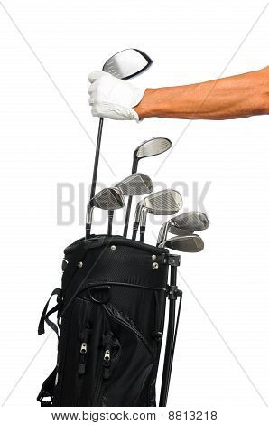Golfer Taking Club From Bag