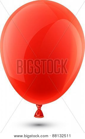 Red realistic celebration balloon. Vector illustration.